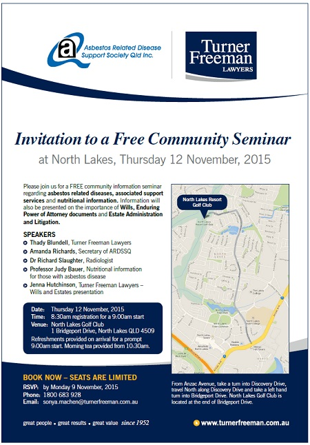 North Lakes invitation to our free asbestos seminar | Turner Freeman Lawyers
