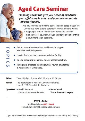 Aged Care Seminar Invitation | Turner Freeman Lawyers