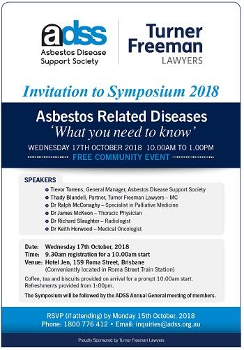 Asbestos symposium 2018 image invitation | Turner Freeman Lawyers