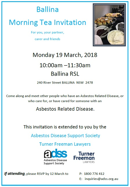 Ballina asbestos morning tea invitation by Turner Freeman Lawyers