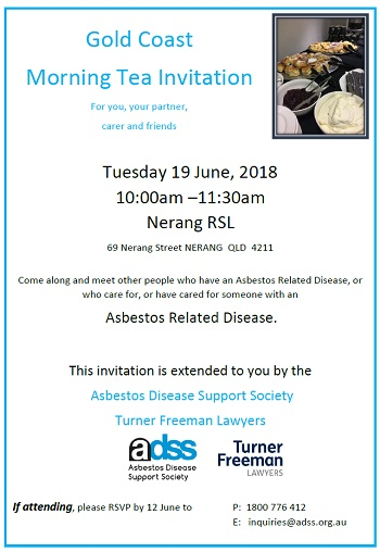 Gold Coast asbestos morning tea invite | Turner Freeman Lawyers