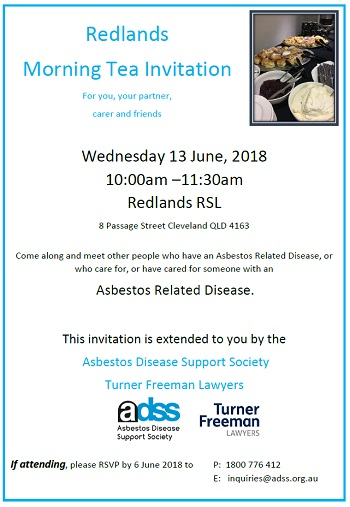 redlands asbestos morning tea | Turner Freeman Lawyers