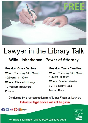 Lawyer in the library talk | Turner Freeman Lawyers