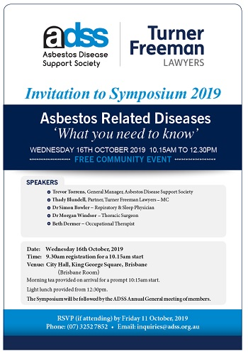 ADSS asbestos symposium 2019 with Turner Freeman Lawyers