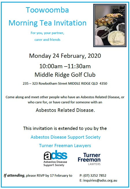 Asbestos related diseases information morning tea in Toowoomba | Turner Freeman Lawyers
